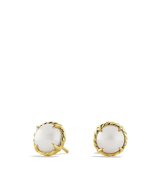 David Yurman | White Châtelaine® Earrings With Pearl In 18k Gold | Lyst