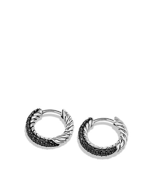 David Yurman | Metallic Petite Pavé Earrings With Black Diamonds | Lyst