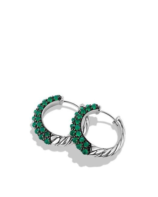 David Yurman | Metallic Osetra Hoop Earrings With Green Onyx | Lyst