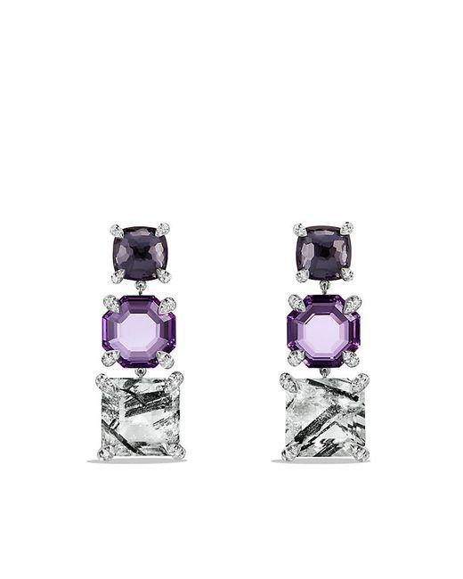 David Yurman | Chatelaine Triple Drop Earrings With Tourmilated Quartz, Amethyst, Black Orchid And Diamonds | Lyst