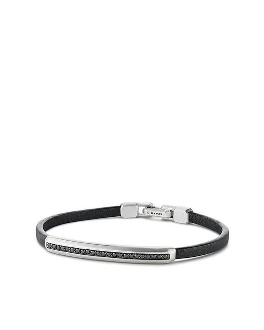David Yurman - Pavé Leather Id Bracelet With Black Diamonds for Men - Lyst