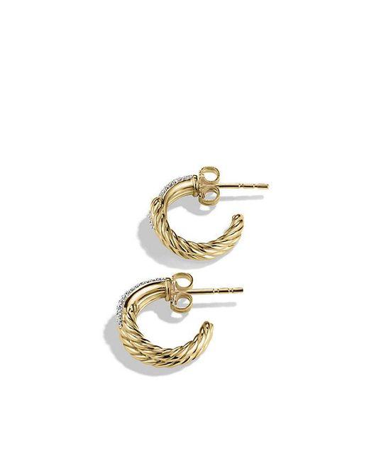 David Yurman | Metallic Labyrinth Huggie Earrings With Diamonds In 18k Gold | Lyst