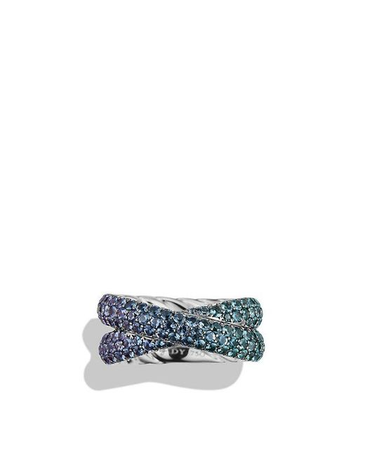 David Yurman - Crossover Ring With Color Change Garnets In 18k White Gold - Lyst