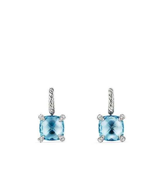 David Yurman - Chatelaine® Drop Earrings With Blue Topaz And Diamonds - Lyst