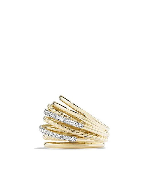 David Yurman | Metallic X Crossover Dome Ring With Diamonds In 18k Gold | Lyst