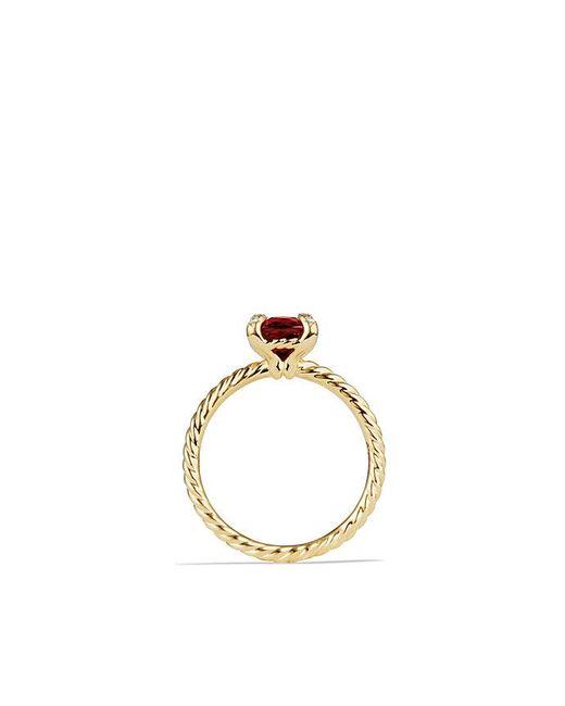 David Yurman - Metallic Chatelaine Ring With Garnet And Diamonds In 18k Gold, 7mm - Lyst
