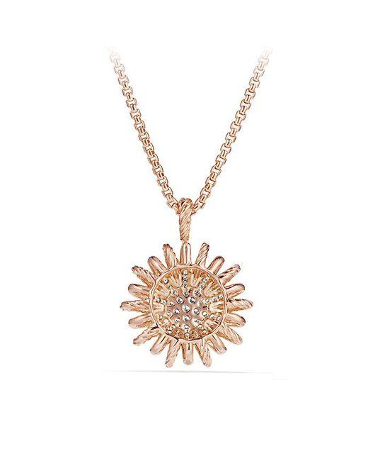 David Yurman - Metallic Starburst Pendant With Diamonds In 18k Rose Gold, 22mm - Lyst