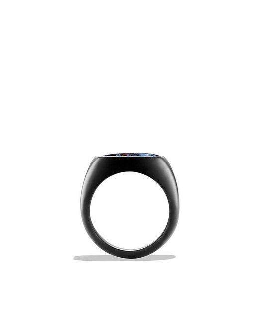 David Yurman | Blue Exotic Stone Signet Ring With Pietersite In Black Titanium for Men | Lyst