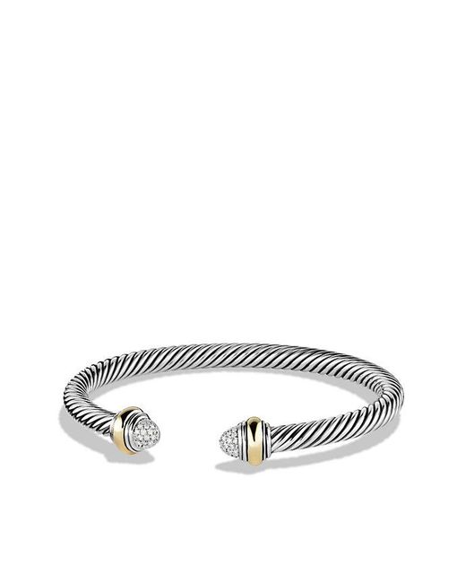 David Yurman - Metallic Cable Classics Bracelet With Diamonds And 14k Gold, 5mm - Lyst