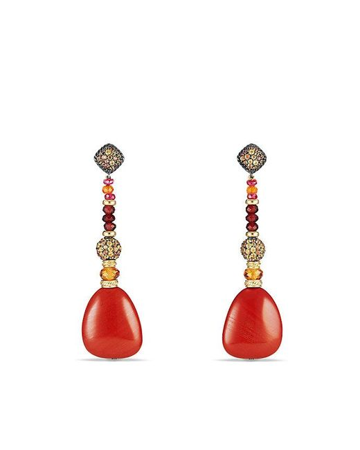 David Yurman - Delta Drop Earring With Red Jasper, Garnet, Orange And Yellow Sapphire And 18k Gold - Lyst