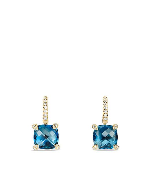 David Yurman | Châtelaine Drop Earrings With Hampton Blue Topaz And Diamonds In 18k Gold | Lyst