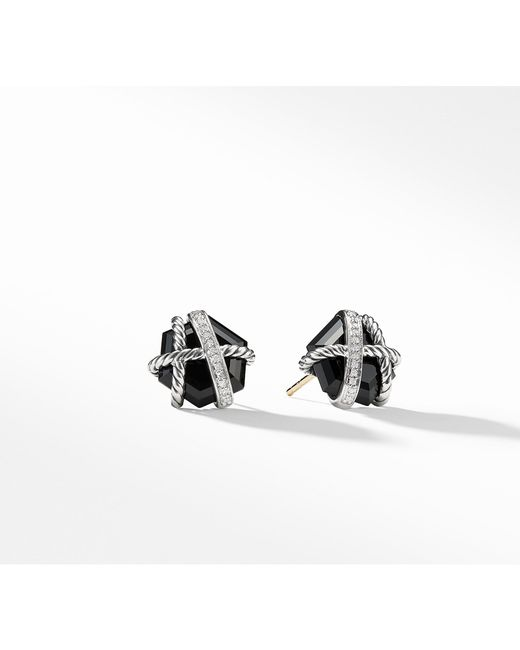 David Yurman - Cable Wrap Earrings With Black Onyx And Diamonds, 10mm - Lyst
