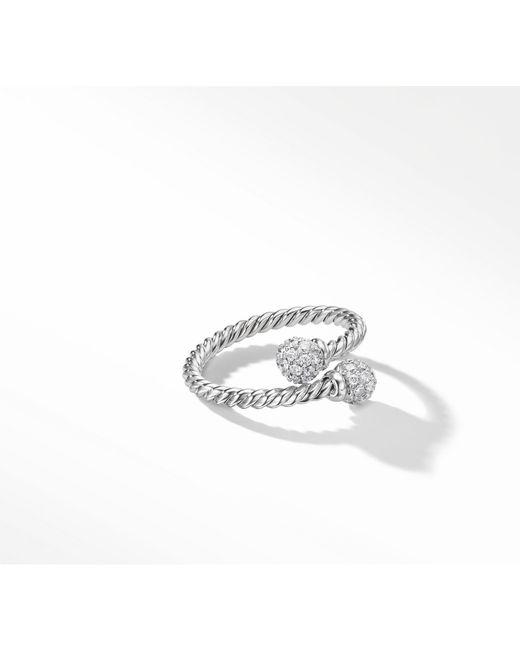 David Yurman - Metallic Petite Solari Bypass Ring With Diamonds In 18k White Gold - Lyst