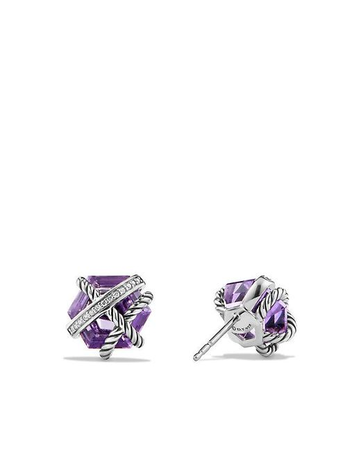 David Yurman - Purple Cable Wrap Earrings With Amethyst And Diamonds, 10mm - Lyst