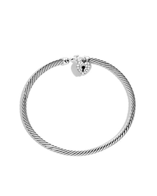 David Yurman - Metallic Cable Collectibles Heart Lock Bracelet With Diamonds - Lyst