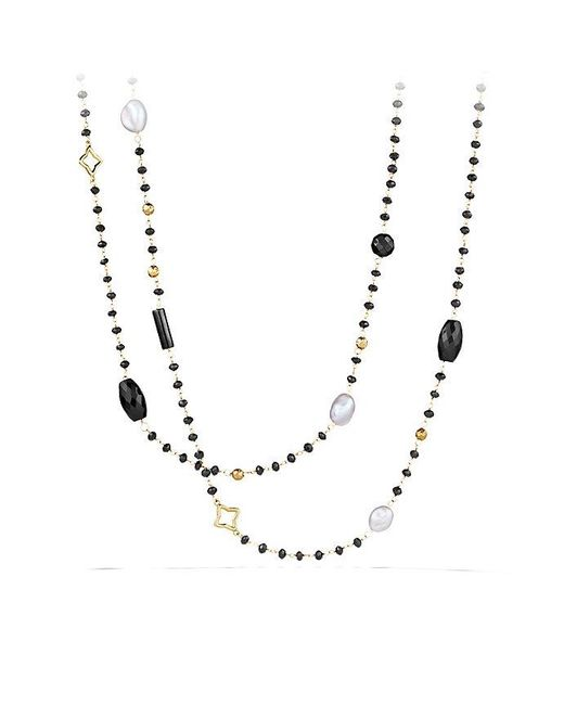 David Yurman | Bijoux Bead Necklace With Black Onyx And Gray Pearl In 18k Gold | Lyst