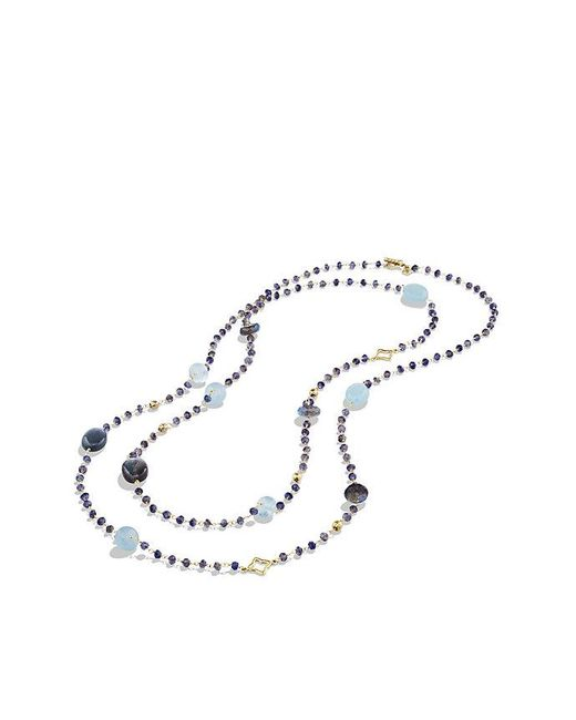 David Yurman | Yellow Bijoux Bead Necklace With Labradorite And Milky Aquamarine In 18k Gold | Lyst