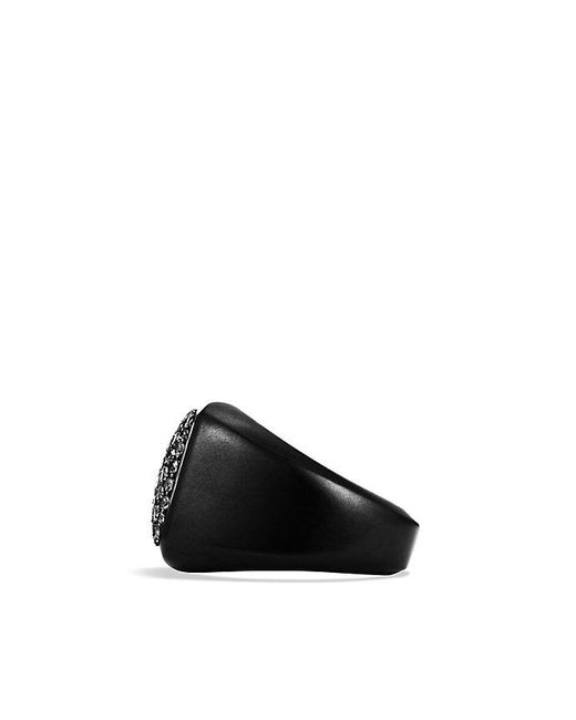 David Yurman | Pavé Signet Ring With Black Diamonds And Black Titanium for Men | Lyst