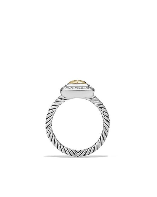 David Yurman | Metallic Petite Albion® Ring With Diamonds And 18k Gold Dome | Lyst