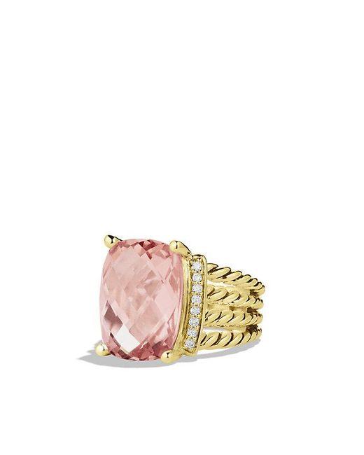 David Yurman | Yellow Wheaton Ring With Morganite And Diamonds In 18k Gold | Lyst