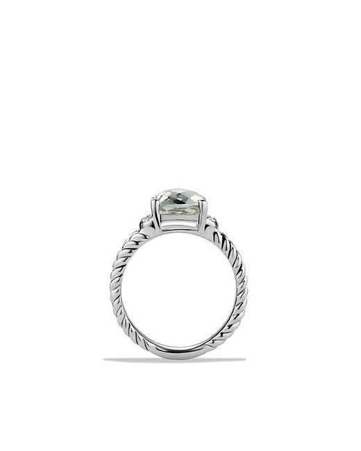 David Yurman | Metallic Petite Wheaton Ring With Prasiolite And Diamonds | Lyst