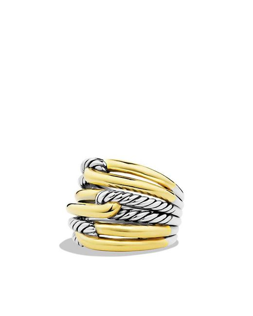 David Yurman | Metallic Labyrinth Triple-loop Ring With 18k Gold | Lyst