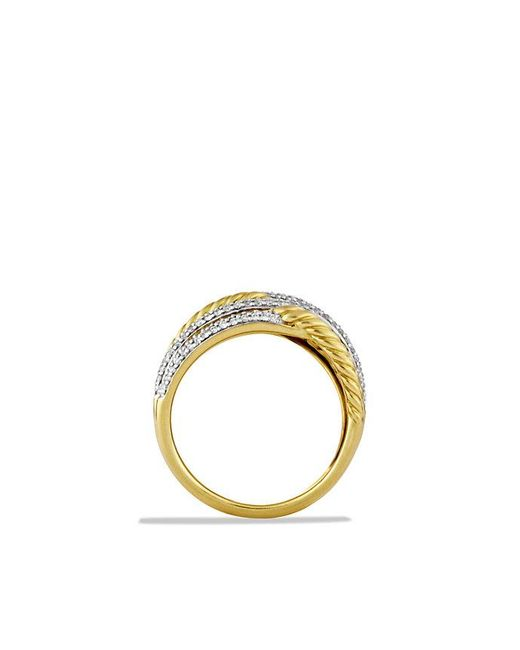 David Yurman | Metallic Labyrinth Triple-loop Ring With Diamonds In 18k Gold | Lyst
