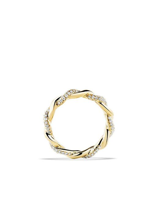 David Yurman | Metallic Wisteria Twist Ring With Diamonds In 18k Gold | Lyst