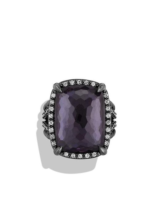 David Yurman | Châtelaine Ring With Black Orchid And Gray Diamonds | Lyst