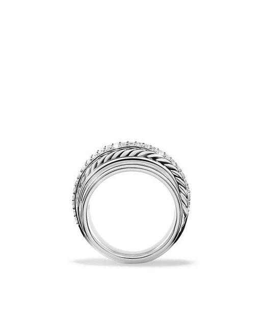 David Yurman | Gray X Crossover Dome Ring With Diamonds | Lyst
