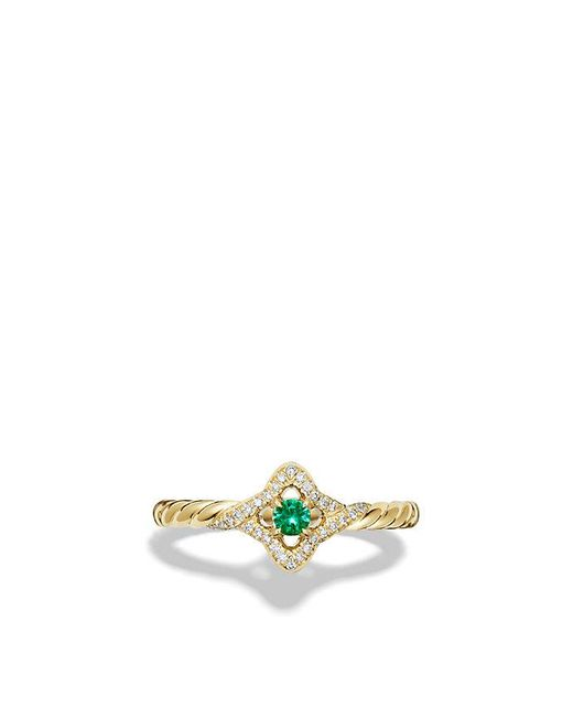 David Yurman | Green Venetian Quatrefoil® Ring With Emerald And Diamonds In 18k Gold | Lyst