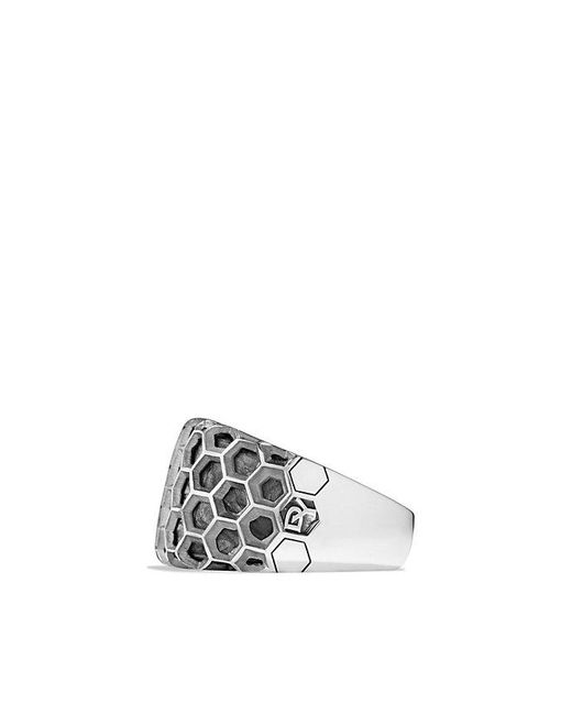 David Yurman | Metallic Forged Carbon Honey Comb Signet Ring for Men | Lyst