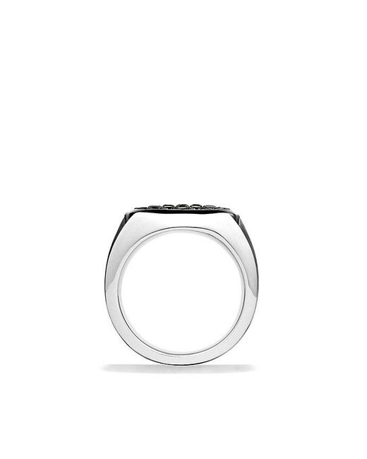 David Yurman | Knife-edge Signet Ring With Black Diamonds for Men | Lyst