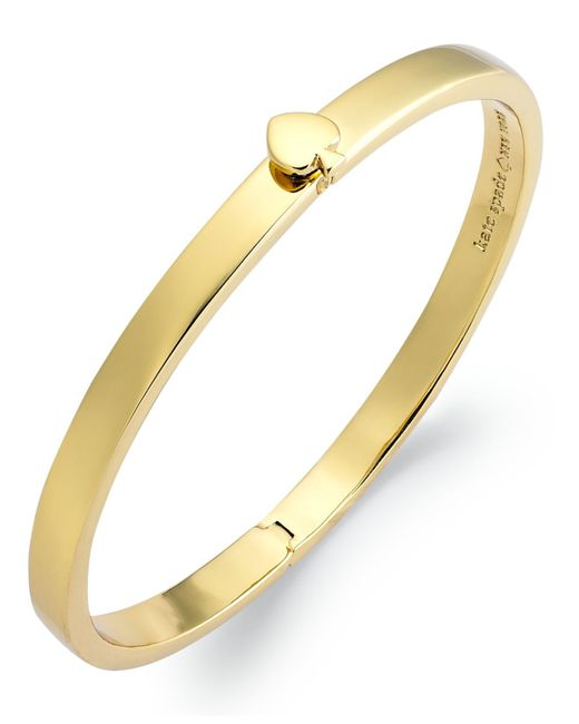 kate spade new york | Metallic 12k Gold-plated Spade Hinged Thin Bangle Bracelet | Lyst