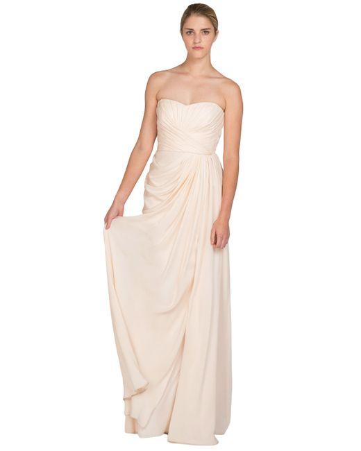 Badgley Mischka | Pink Silk Chiffon Bustier Evening Gown | Lyst