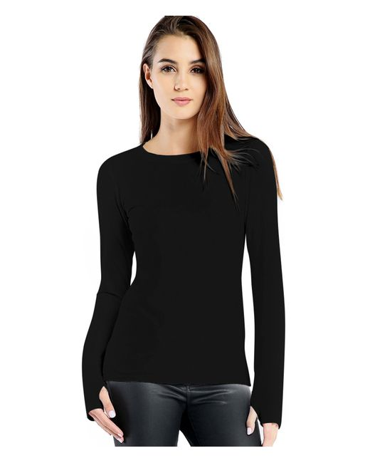 Michael Stars | Black Cotton Lycra Long Sleeve Tee With Thumbholes | Lyst