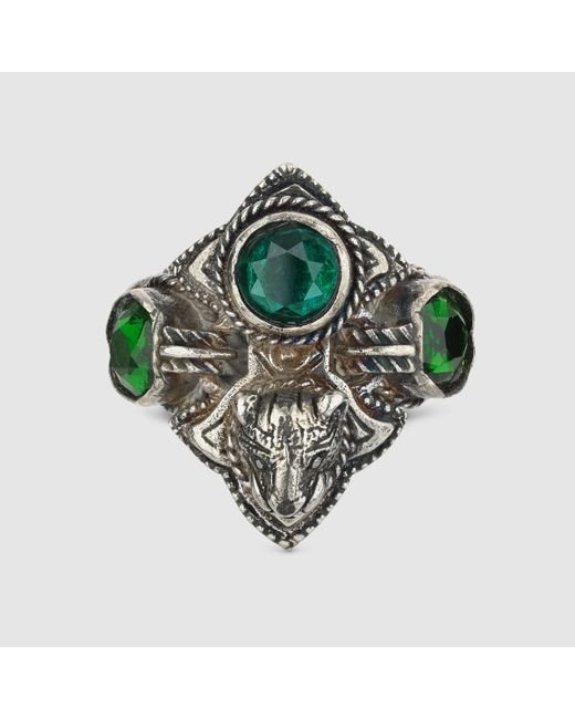 Gucci | Green Feline Head Ring With Crystals | Lyst