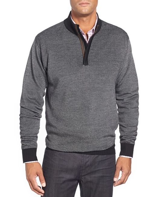 Peter Millar | Black Quarter Zip Merino Wool Sweater for Men | Lyst