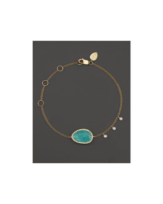 Meira T | Metallic 14k Yellow Gold Amazonite Bracelet With Diamonds | Lyst