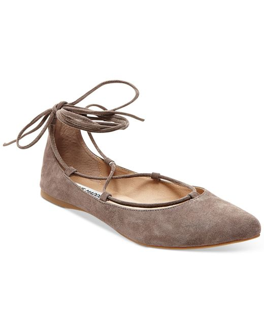 steve madden eleanorr suede lace up flats in brown taupe