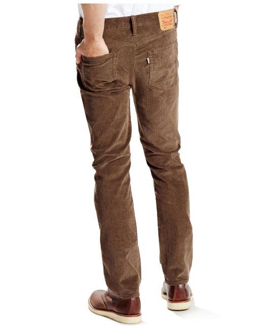 Levi S 511 Slim Fit Cougar Rinsed Corduroy Pant In Brown
