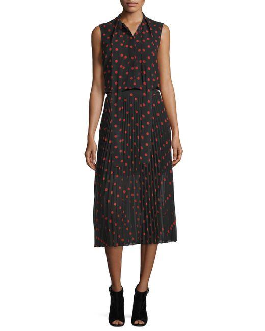 mcq pleated polka dot midi skirt in lyst