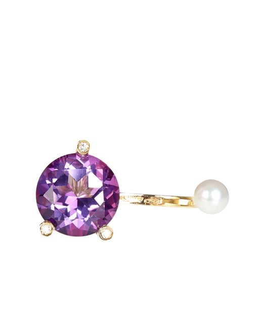 Delfina Delettrez   Metallic Diamond, Topaz, Pearl & Yellow-Gold Ring   Lyst