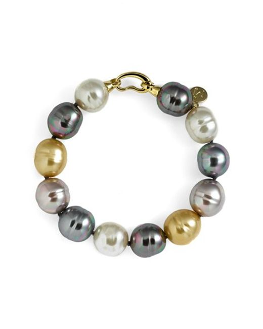 Majorica | Metallic 14mm Baroque Pearl Single Row Bracelet | Lyst