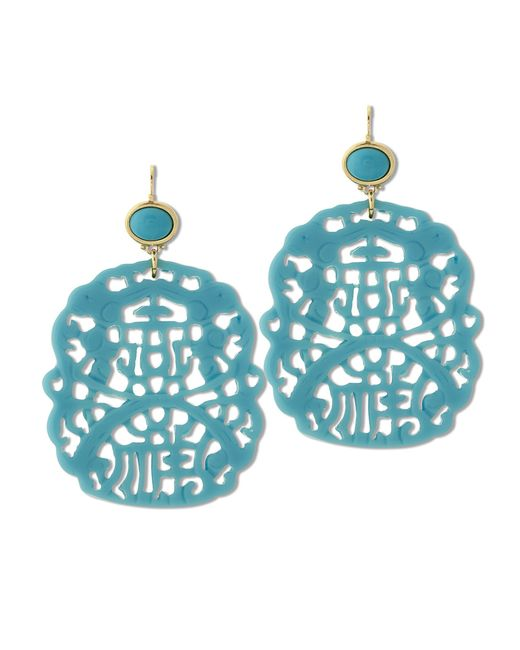 Kenneth Jay Lane | Blue Carved Turquoise Earring | Lyst