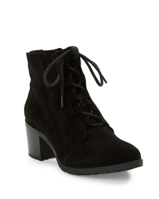 Anne Klein | Black Kadey Lace-up Suede Booties | Lyst