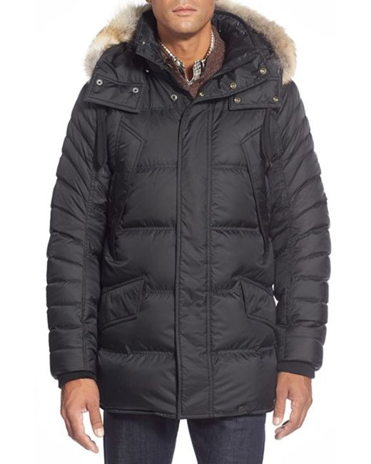 Marc New York | Black By Andrew Marc 'stowaway' Hooded Parka With Genuine Coyote Fur Trim for Men | Lyst