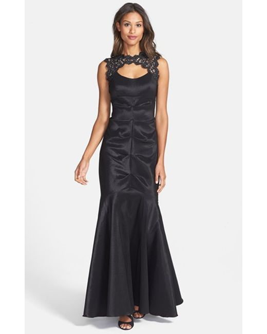 Xscape | Black Lace & Taffeta Mermaid Gown | Lyst