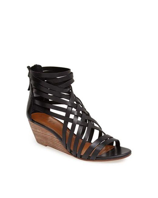 Hinge | Black 'neta' Leather Wedge Sandal | Lyst