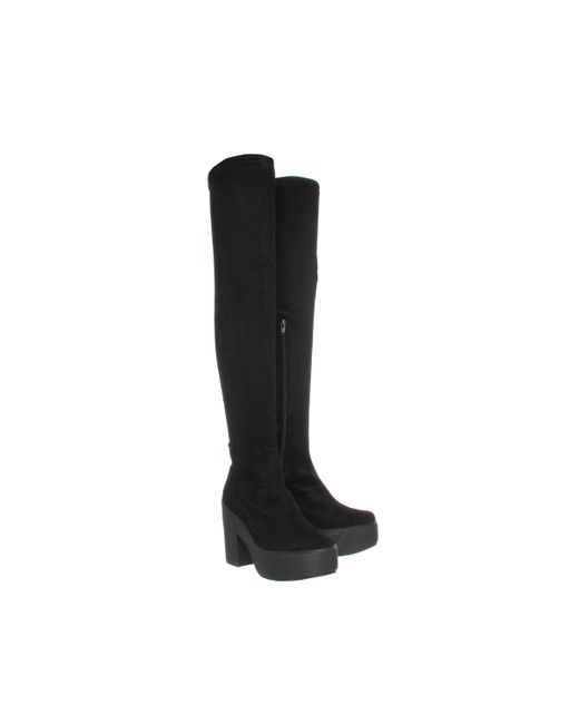 office stretch thigh high boots in black lyst